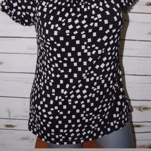 Style & Co Tops - Top M Short Sleeve Black White Gathered Neckline